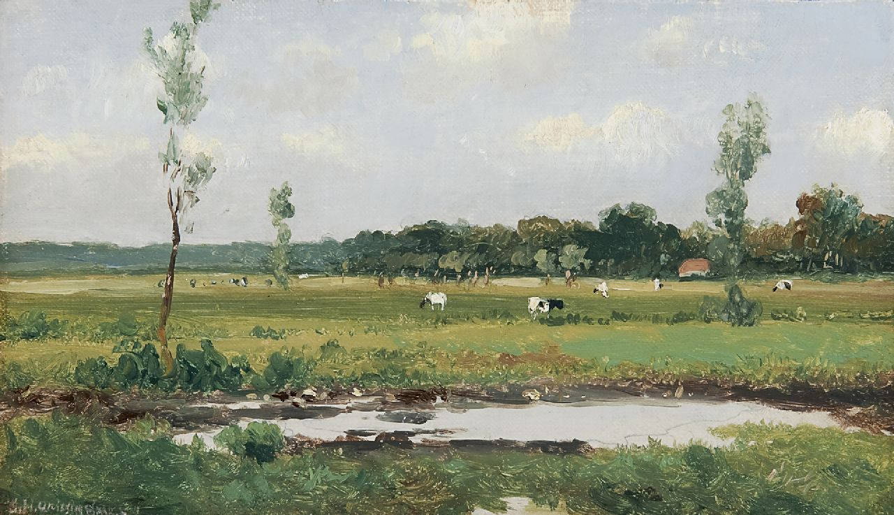 Weissenbruch H.J.  | Hendrik Johannes 'J.H.' Weissenbruch, A Dutch landscape with cows, oil on canvas laid down on panel 15.8 x 26.9 cm, signed l.l.
