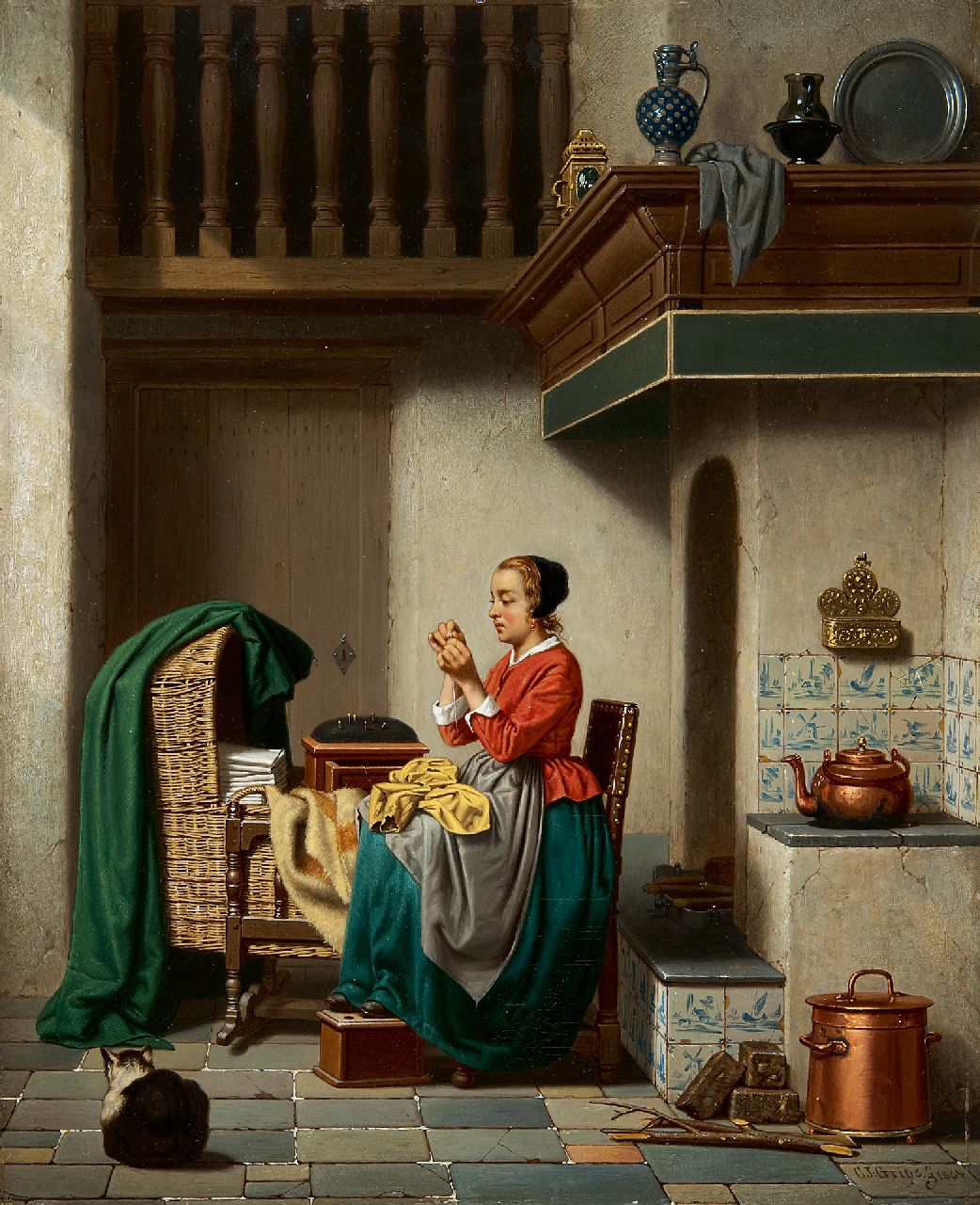 Carel Jozeph Grips | Mending the garments, oil on panel, 36.0 x 29.3 cm, signed l.r. and dated 1864