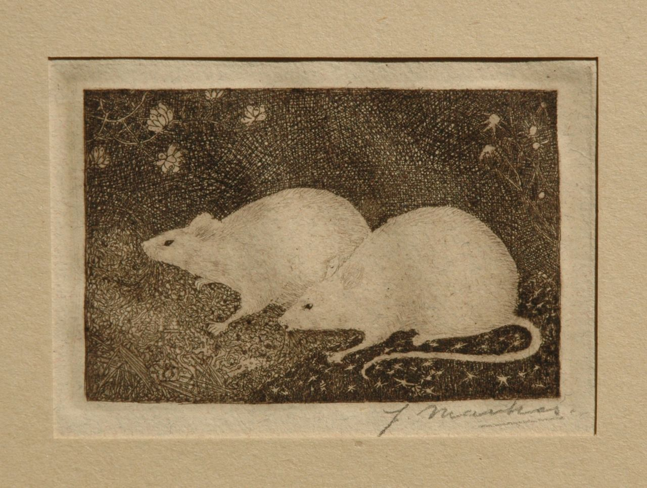 Mankes J.  | Jan Mankes, Two mice, etching on paper 6.8 x 10.2 cm, signed l.r. (with pencil) and executed in 1916