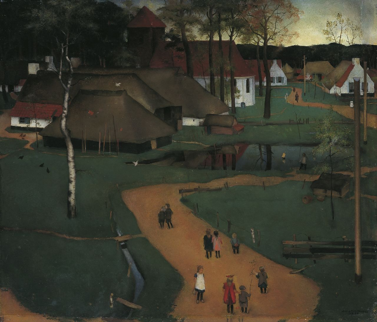 Johannes Baptist Mulders | View of a village with children on a path, oil on paper laid down on board, 61.2 x 71.0 cm, signed l.r. and dated 1926