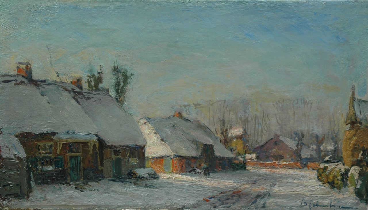 Schulman D.  | David Schulman, A village in the snow, oil on canvas 25.2 x 44.6 cm, signed l.r.