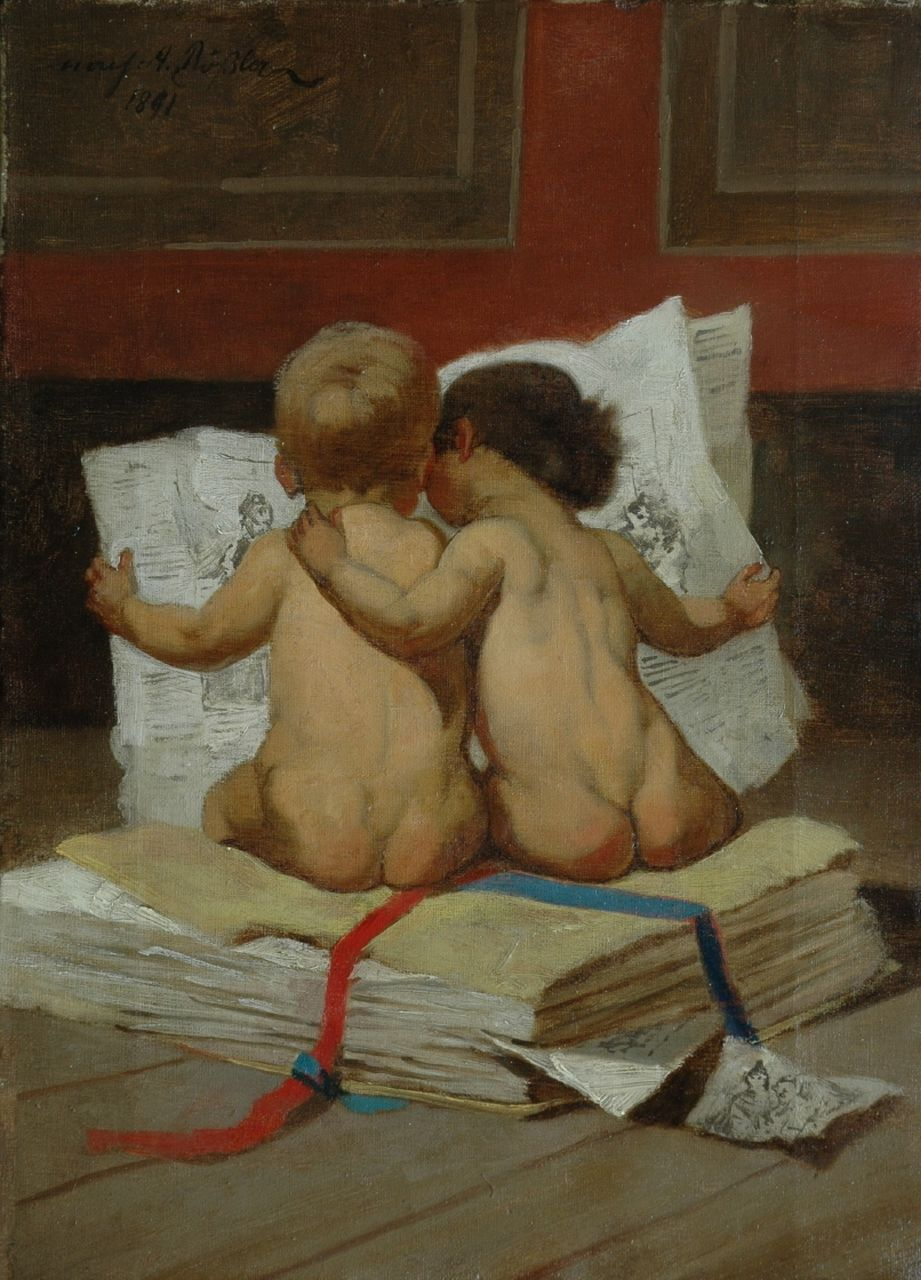 Rössler (mogelijk August Rössler) | Reading the newspaper, oil on canvas, 34.7 x 25.3 cm, signed u.l. and dated 1891