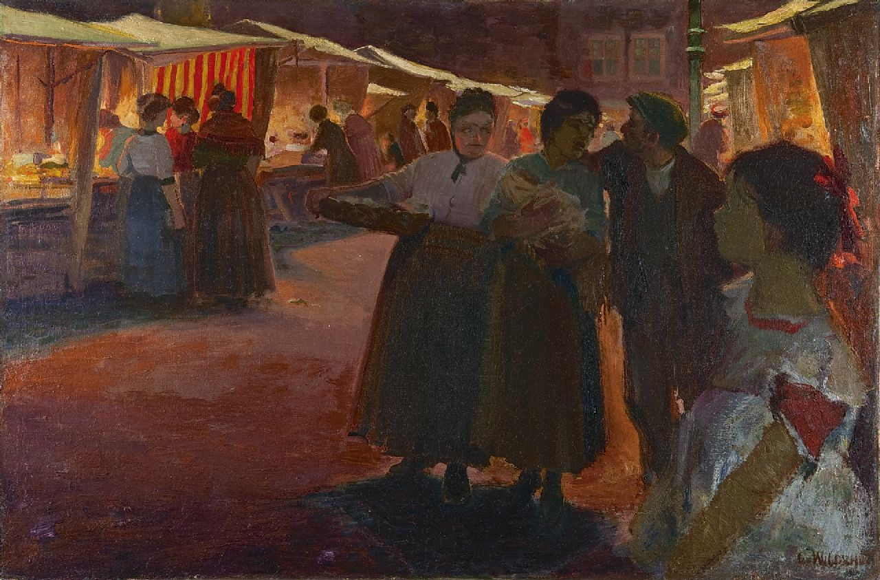 Wildschut G.P.W.  | 'George' Petrus Wilhelmus Wildschut | Paintings offered for sale | Night market in the Jewish quarter, Amsterdam, oil on canvas 66.1 x 100.1 cm, signed l.r.