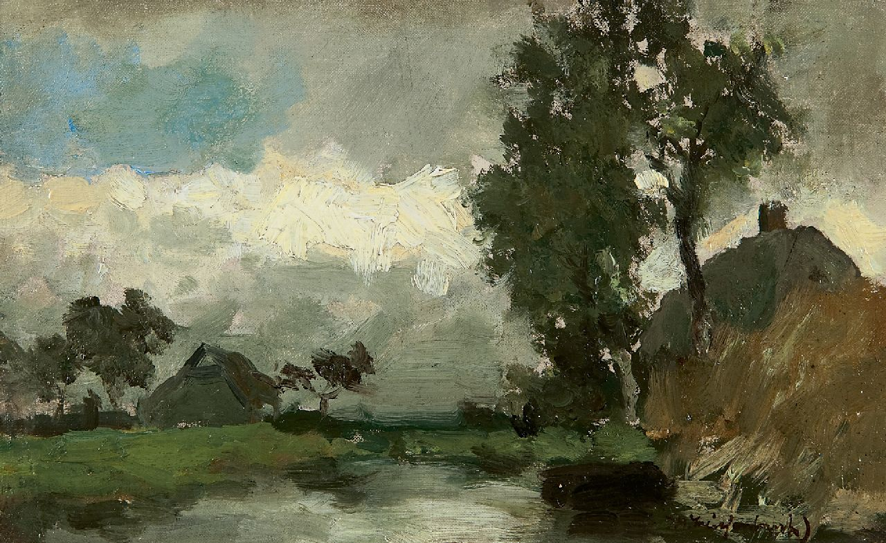 Weissenbruch H.J.  | Hendrik Johannes 'J.H.' Weissenbruch, A polder landscape between showers, oil on canvas laid down on panel 15.8 x 25.2 cm, signed l.r.