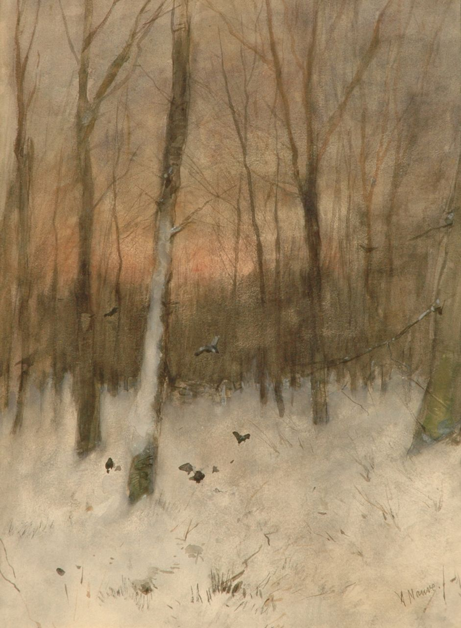Mauve A.  | Anthonij 'Anton' Mauve, A snowy forest at sunset, watercolour on paper 48.0 x 35.0 cm, signed l.r.