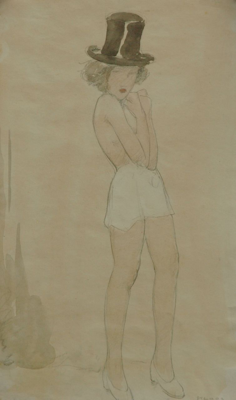 Kloos C.  | Cornelis Kloos, Nude with a top hat and a white skirt, pencil and watercolour on paper 30.7 x 17.9 cm, signed l.r. and executed on 15-10-1941