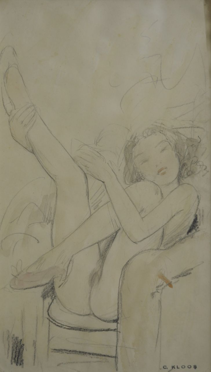 Kloos C.  | Cornelis Kloos, Nude with uplifted legs, pencil and watercolour on paper 30.8 x 17.8 cm, signed l.r. with artist's stamp and executed on 4-2-41