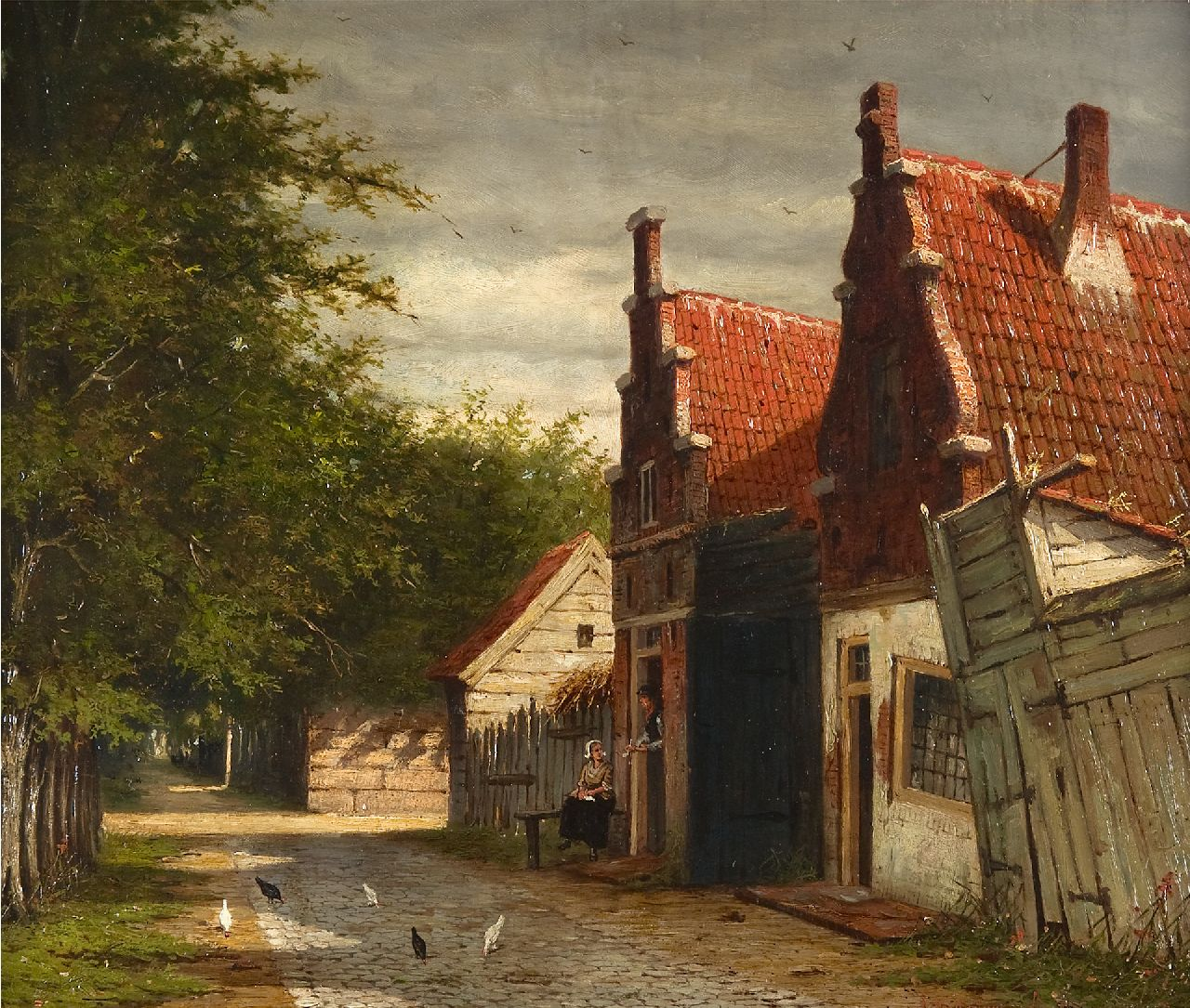Mittertreiner J.J.  | Johannes Jacobus Mittertreiner | Paintings offered for sale | A village street in summer, oil on painter's board 35.2 x 43.0 cm, signed l.r.