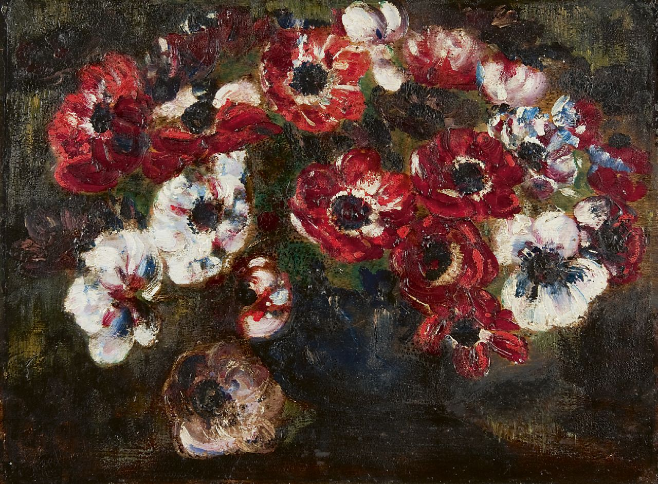 Goedvrind Th.F.  | Theodoor Franciscus 'Theo Goedvriend' Goedvrind, Anemones, oil on panel 34.1 x 46.1 cm, signed l.l.