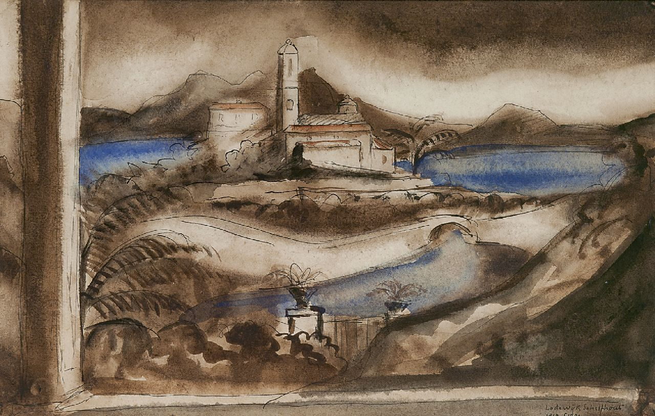 Lodewijk Schelfhout | A view of Corsica, watercolour on paper, 21.3 x 34.2 cm, signed l.r. and dated 'Corse 1919'
