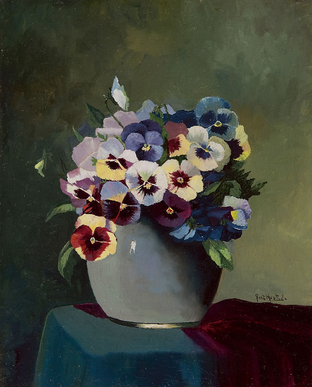 Piet in 't Hout | Violets in a vase, oil on canvas, 30.2 x 24.5 cm, signed l.r.