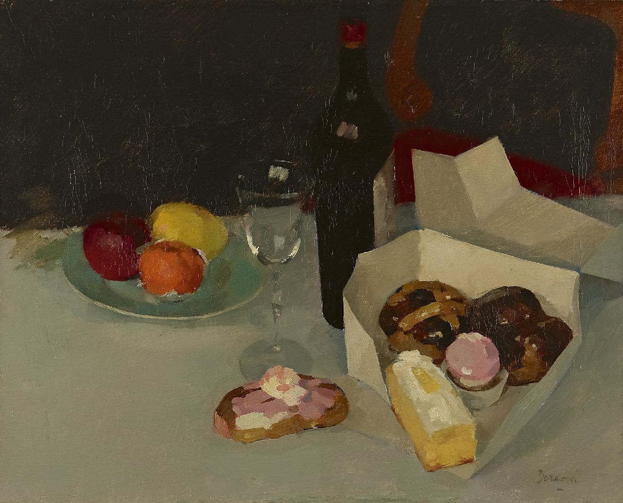 Verdonk F.W.  | Frederik Willem 'Frits' Verdonk, A still life with pastry, oil on canvas 40.7 x 50.4 cm, signed l.r.