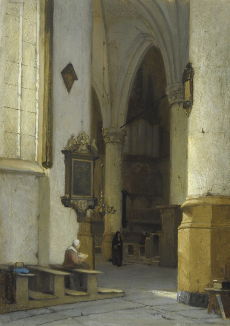 Schenkel J.J.  | Jan Jacob Schenkel, A Dutch church interior, oil on panel 39.5 x 28.6 cm, signed l.l.