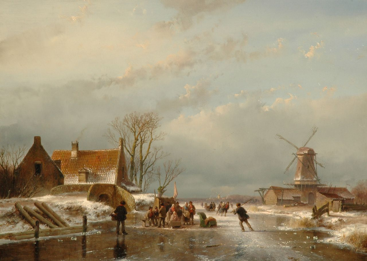 Schelfhout A.  | Andreas Schelfhout, Skaters on a Dutch waterway, oil on panel 33.6 x 46.0 cm, signed l.l. and dated '56