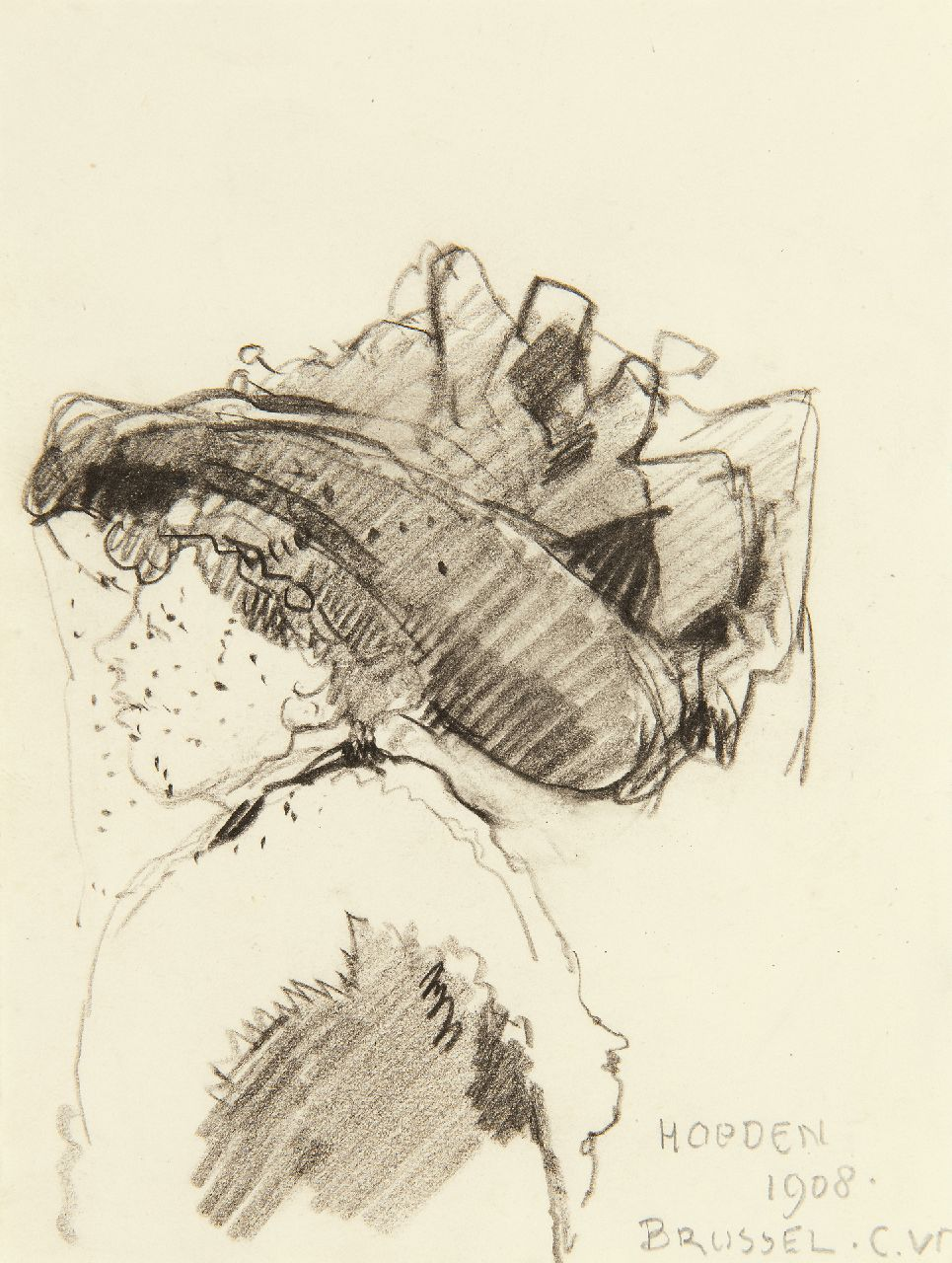 Vreedenburgh C.  | Cornelis Vreedenburgh | Watercolours and drawings offered for sale | The latest hat fashion in Brussels, 1908, black chalk on paper 13.2 x 10.2 cm, signed l.r. with initials and dated 1908
