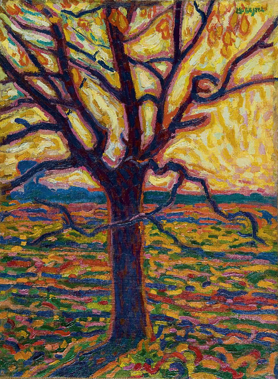 Gestel L.  | Leendert 'Leo' Gestel, A tree in autumn, oil on canvas laid down on board 52.4 x 38.5 cm, signed u.r. and painted ca. 1909-1910