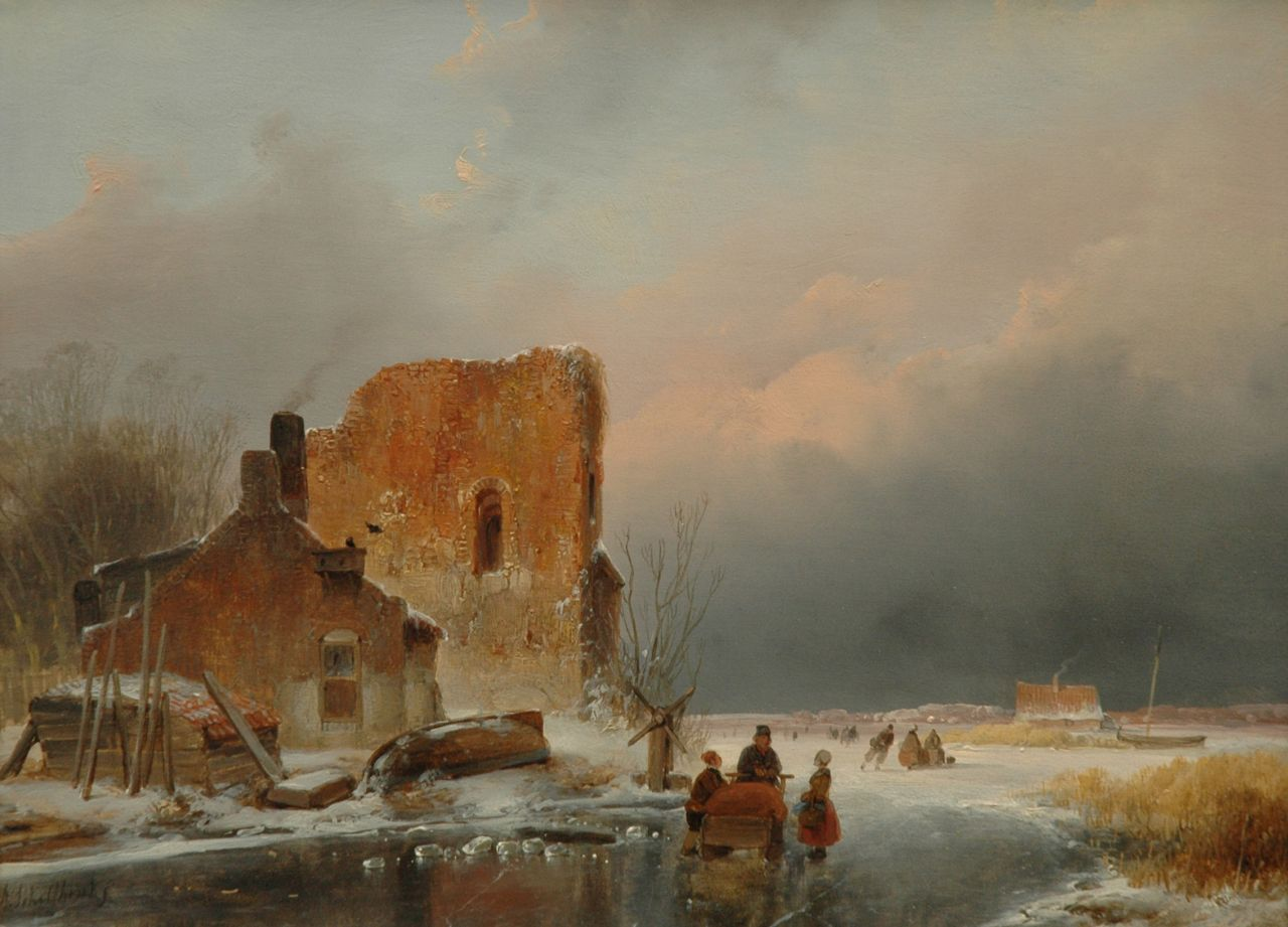 Schelfhout A.  | Andreas Schelfhout, Winterlandscape with skaters, oil on panel 27.0 x 36.0 cm, signed l.l., and with a brandmark on the reverse and dated 1839 on the reverse