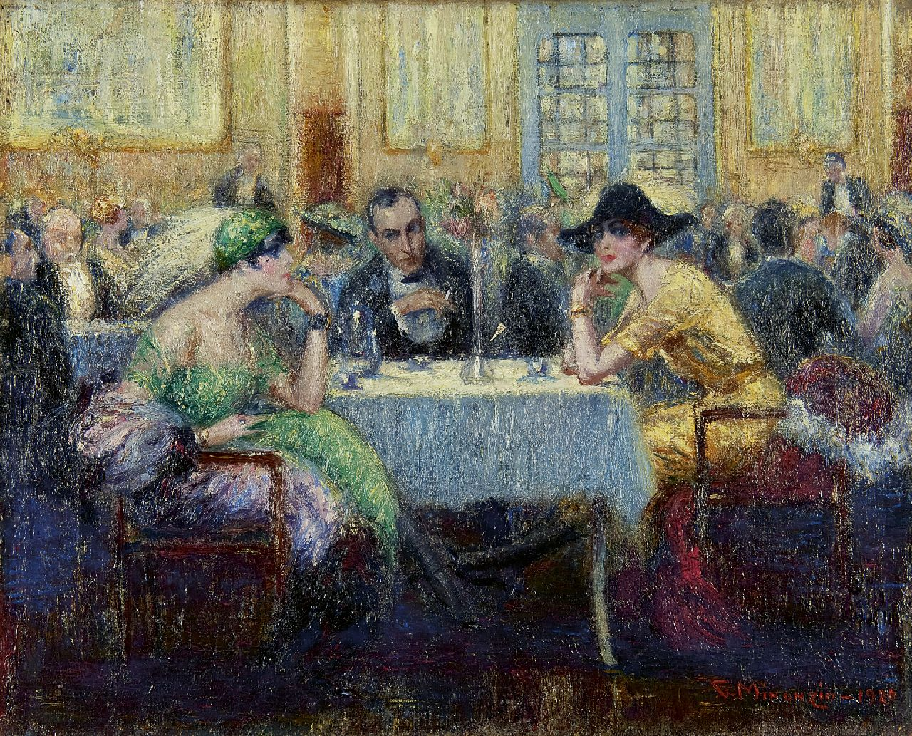 Giuseppe Minonzio | In the Grand Café, oil on canvas, 40.2 x 50.0 cm, signed l.r. and dated 1920