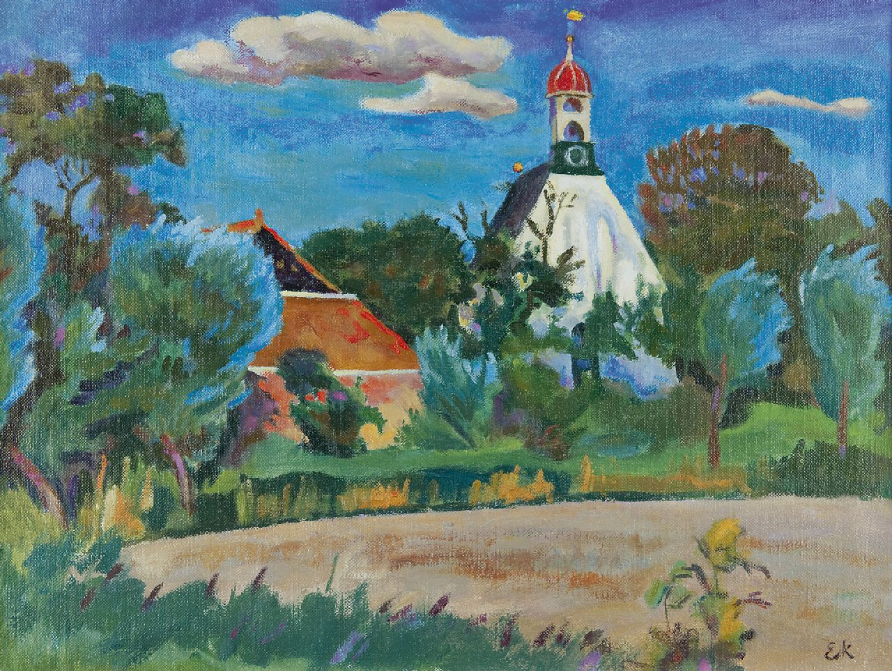 Ekke Kleima | The church of Breede, oil on canvas, 46.3 x 61.1 cm, signed l.r. with initials and painted between 1938-1940