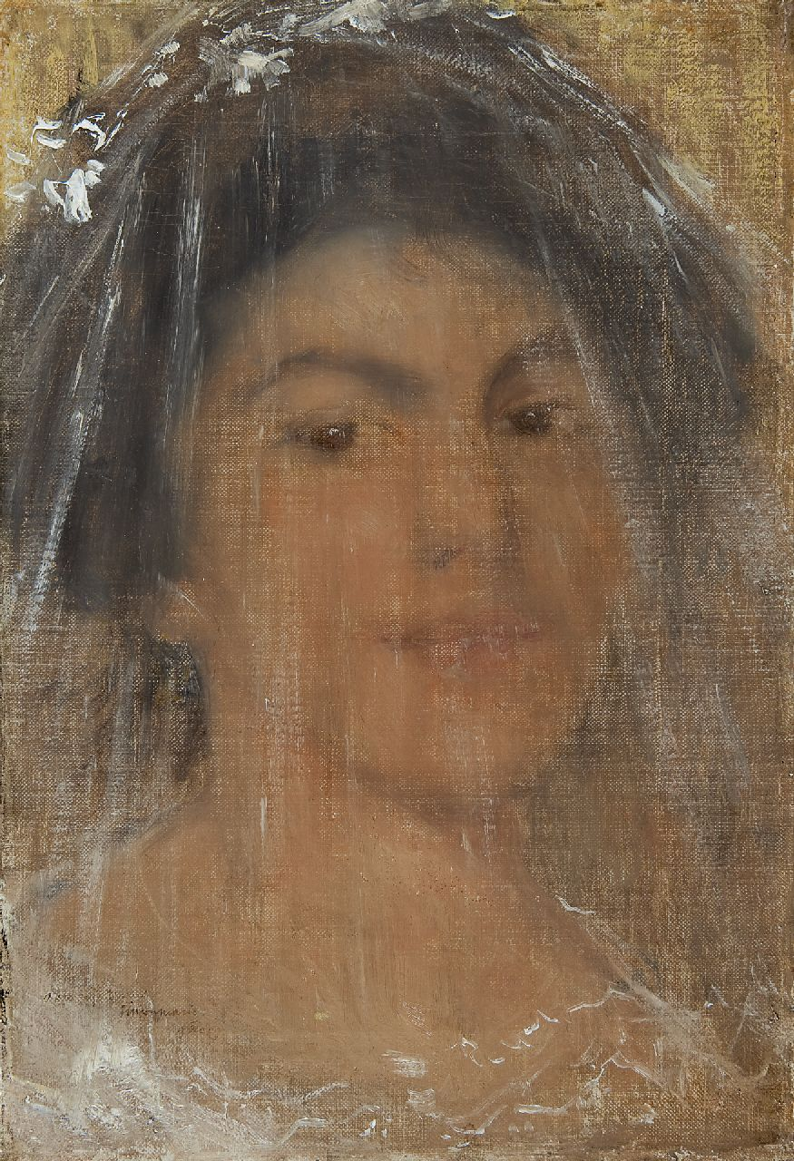 Maris S.W.  | Simon Willem Maris, Young woman with a veil, oil on canvas 38.5 x 26.2 cm, signed l.l. and dated 9 Dec. '09