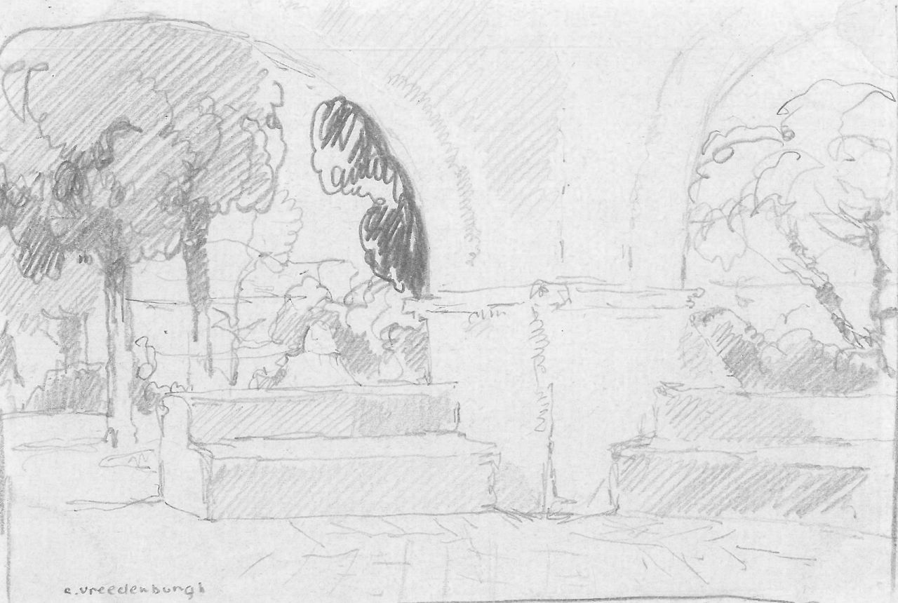 Vreedenburgh C.  | Cornelis Vreedenburgh | Watercolours and drawings offered for sale | A monastery courtyard, pencil on paper 9.1 x 13.8 cm, signed l.l.