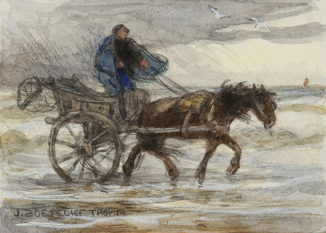 Zoetelief Tromp J.  | Johannes 'Jan' Zoetelief Tromp, Shell fisherman with horse-and-carriage, pencil and watercolour on paper 12.7 x 16.8 cm, signed l.l.