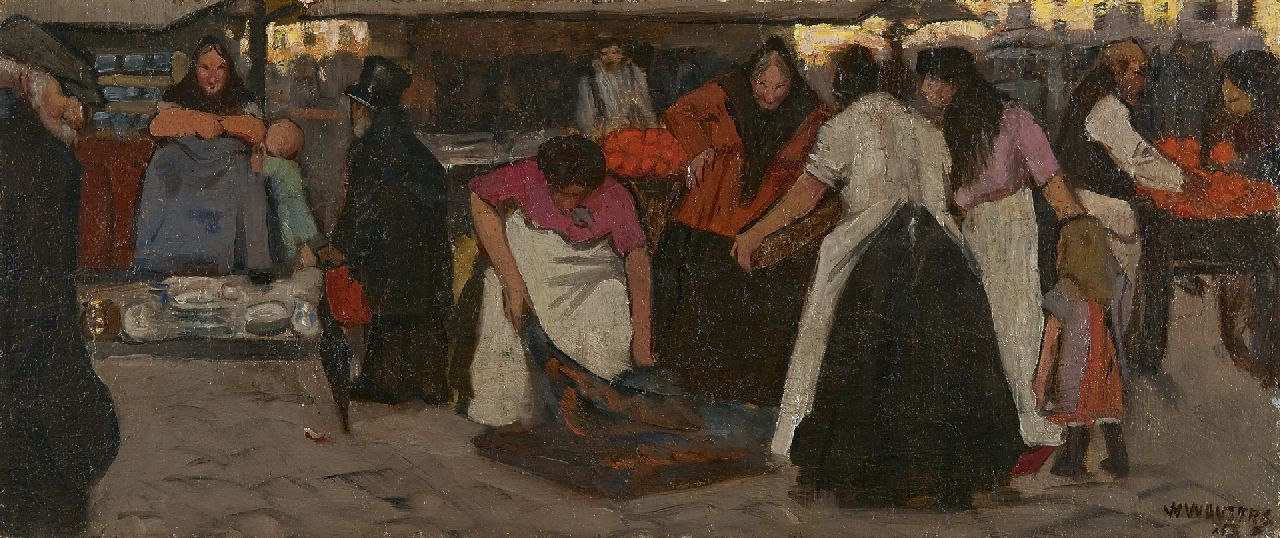 Wilm Wouters | Figures at a market place, oil on canvas laid down on board, 22.0 x 52.2 cm, signed l.r.