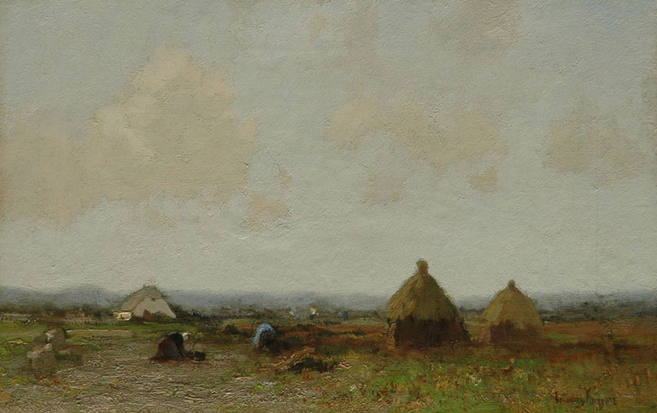 Kuijpers C.  | Cornelis Kuijpers, Landscape with farmers, oil on canvas 28.2 x 43.9 cm, signed l.r.