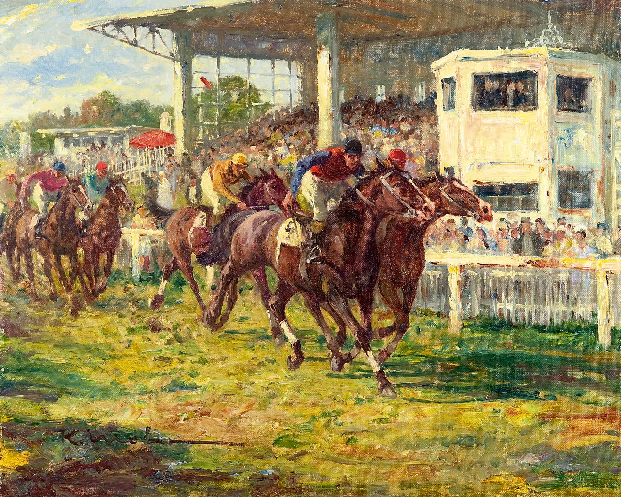 Karl Mohr | At the races at Köln-Weidenpesch, oil on canvas, 40.3 x 50.3 cm, signed l.l.
