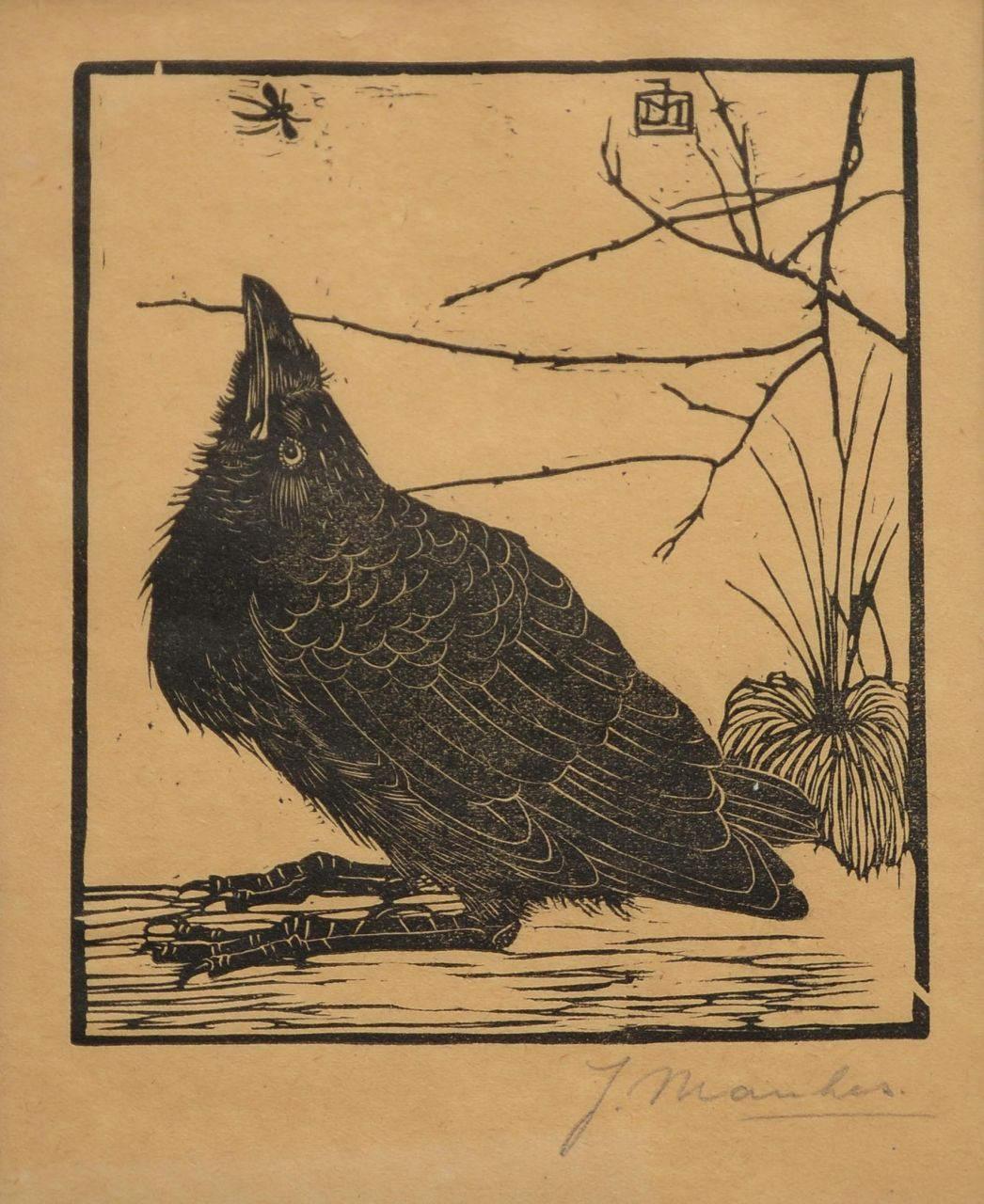 Mankes J.  | Jan Mankes, A crow, woodcut on coloured paper 11.8 x 10.2 cm, signed l.r. in full (in pencil) and with mon. in the bloc and executed in 1918