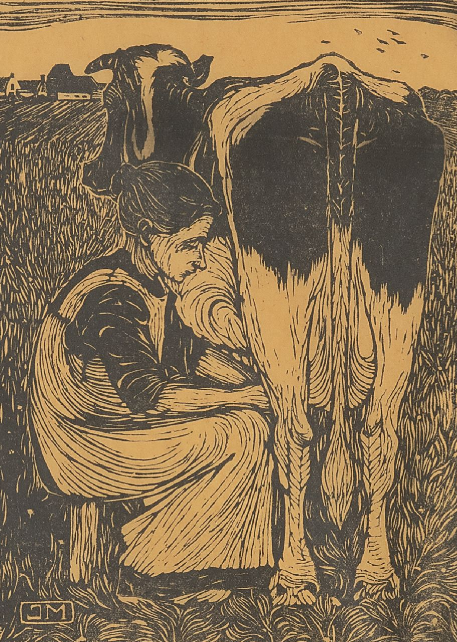 Mankes J.  | Jan Mankes | Prints and Multiples offered for sale | Milking the cow, woodcut on paper 19.2 x 14.2 cm, signed l.r. in full (in pencil) and with mon.in the block and executed ca 1914