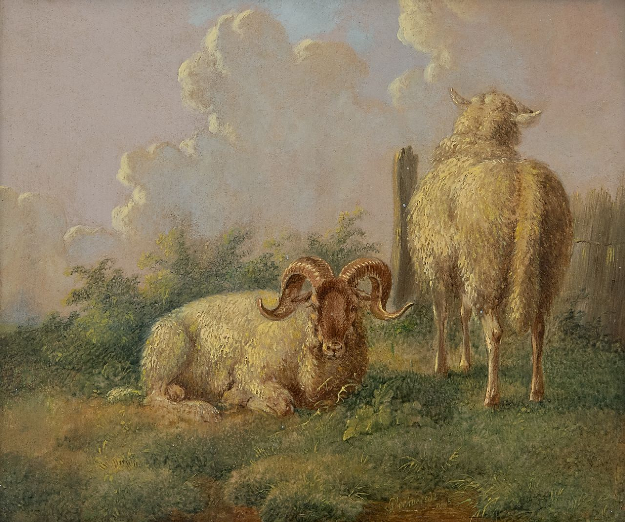 Verhoesen A.  | Albertus Verhoesen | Paintings offered for sale | Sheep on a summary pasture, oil on panel 14.5 x 16.5 cm, signed r.o.t.c. and dated 1845