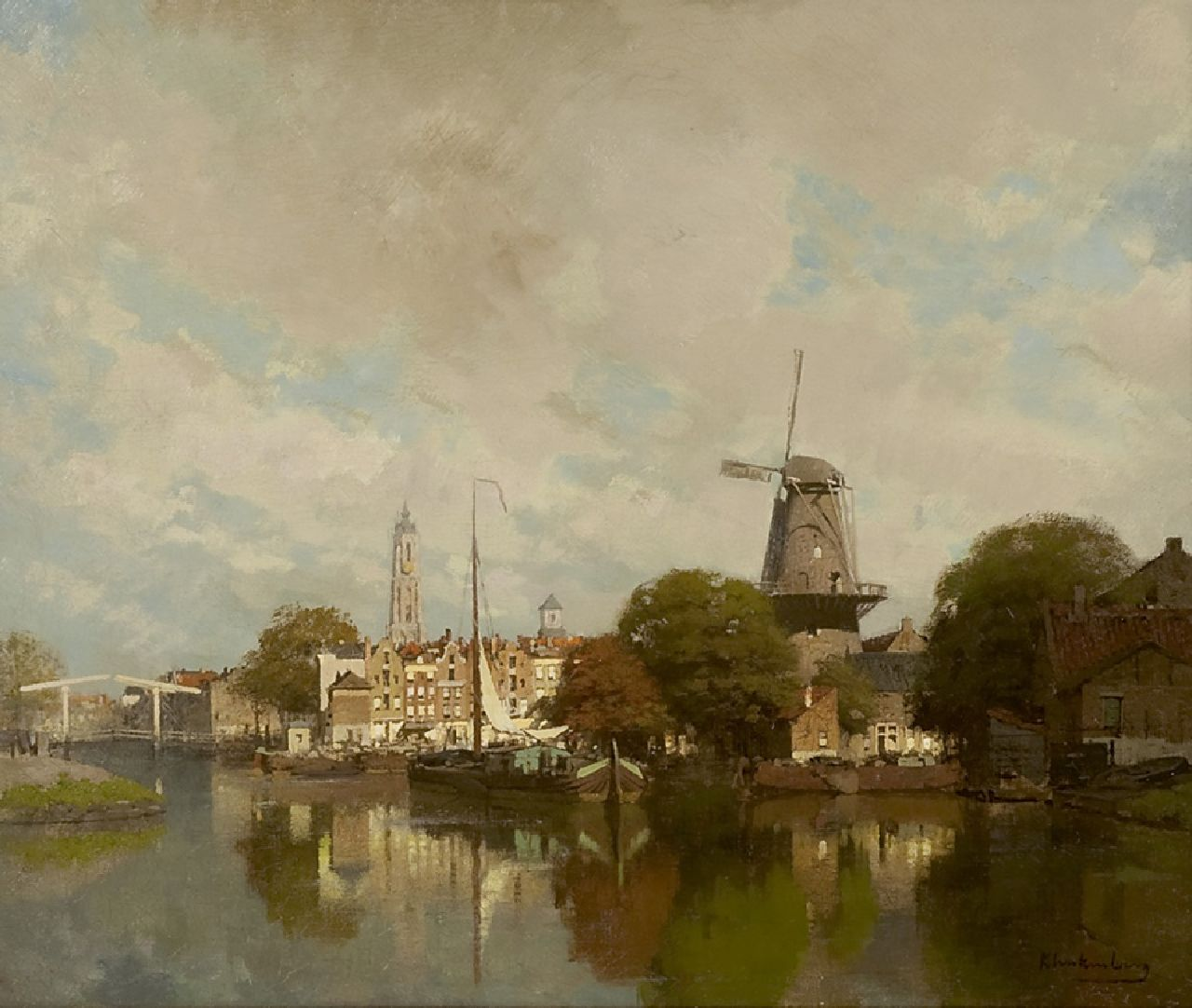 Klinkenberg J.C.K.  | Johannes Christiaan Karel Klinkenberg | Paintings offered for sale | A view of a town with the Groenmolen and tower of the Nieuwe Kerk of Delft, oil on canvas 39.5 x 47.4 cm, signed l.r.
