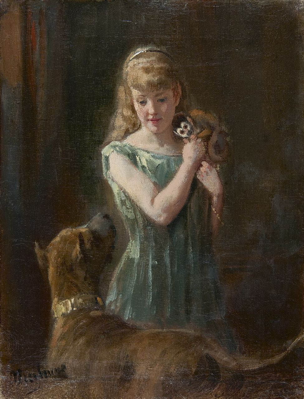 Eerelman O.  | Otto Eerelman, Girl with monkey and dog, oil on canvas 32.1 x 24.6 cm, signed l.l.