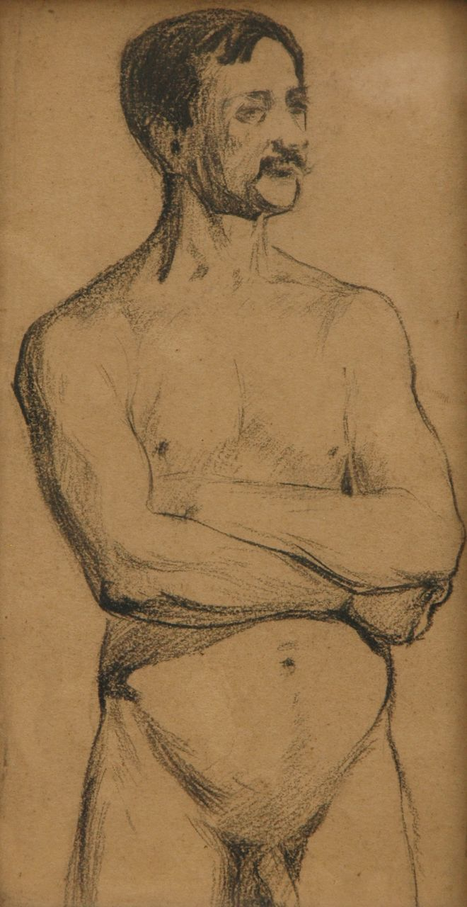Heijenbrock J.C.H.  | Johan Coenraad Hermann 'Herman' Heijenbrock | Watercolours and drawings offered for sale | Nude study of a man, pencil on paper 21.2 x 10.9 cm