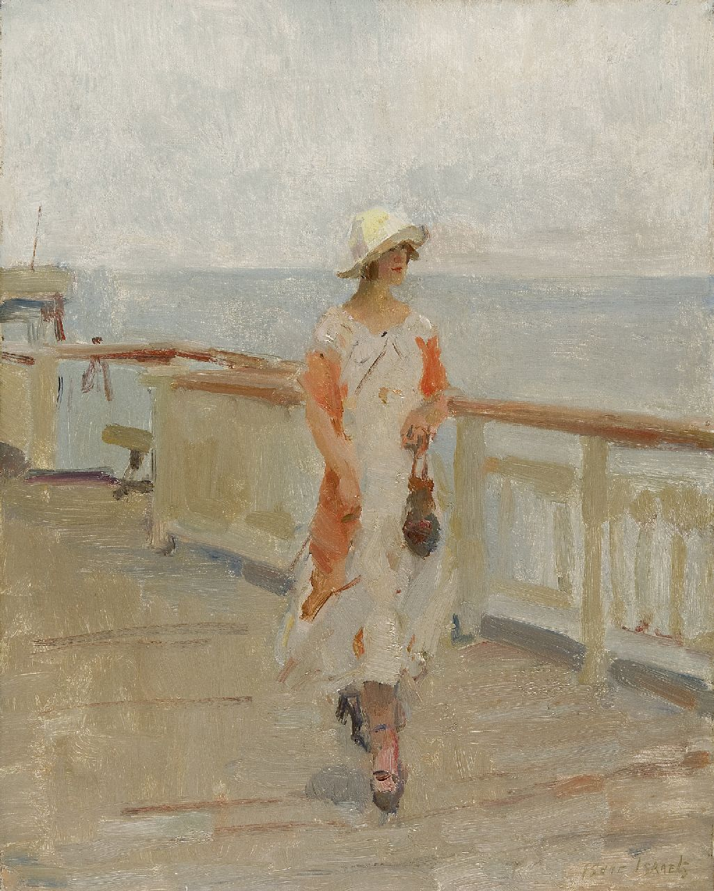Israels I.L.  | 'Isaac' Lazarus Israels, Strolling on the 'Scheveningen pier', oil on canvas 50.2 x 40.0 cm, signed l.r.