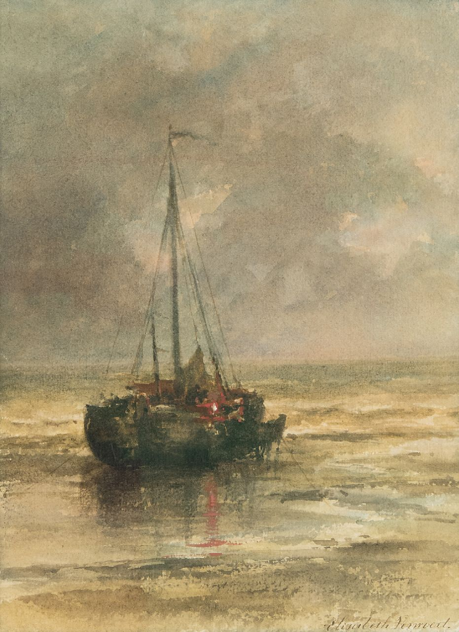 Elisabeth Verwoert | Moored fishing boat near the beach, watercolour on paper, 29.8 x 22.2 cm, signed l.r.