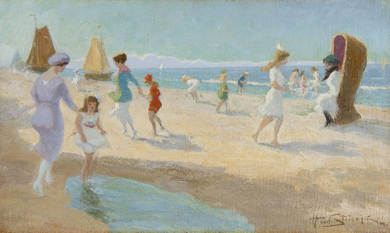 Hendrik van Steenwijk | Fun at the beach, oil on canvas laid down on board, 28.9 x 48.2 cm, signed l.r.
