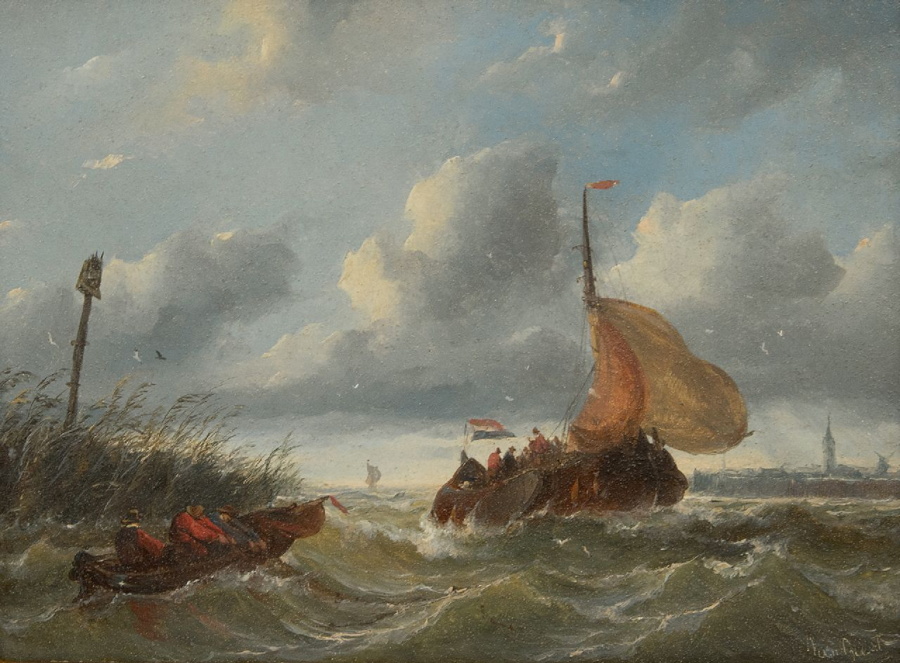 Albertus van Beest | A boyer entering a harbour in stormy weather, oil on panel, 23.5 x 33.6 cm, signed l.r.