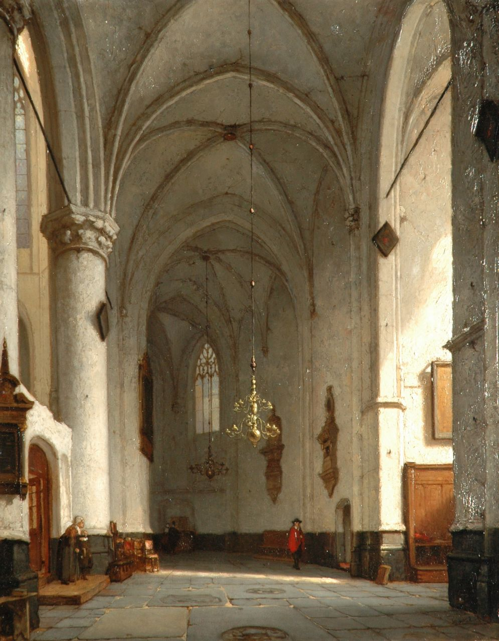 Schenkel J.J.  | Jan Jacob Schenkel, A sunlit church interior, oil on panel 57.3 x 44.5 cm, signed l.r.