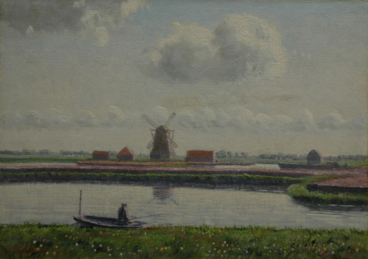 Stricker C.L.  | Charles Ludwig Stricker, Landscape near Nieuwer-Amstel, with the 'Koenenmolen' and bulbfields, oil on canvas laid down on board 24.5 x 34.5 cm, signed l.r. and painted in May 1918