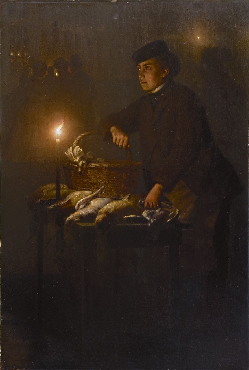 Schendel P. van | Petrus van Schendel, Selling game at the Groenmarkt in The Hague, by night, oil on panel 45.0 x 30.3 cm, signed l.r. and executed ca. 1868