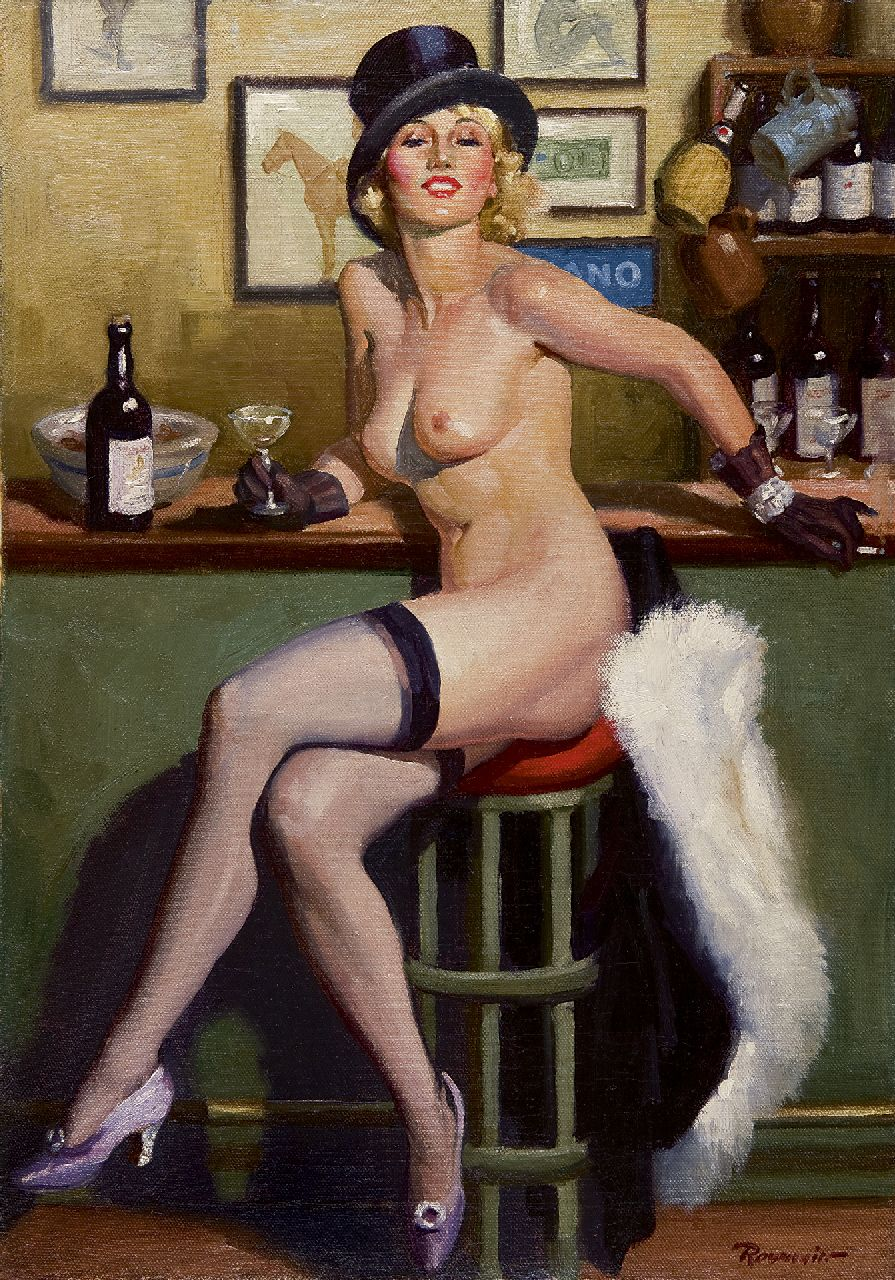 Reusswig H.W.  | Henry 'William' Reusswig, Entertainment at the bar, oil on canvas 71.6 x 51.1 cm, signed l.r. and painted in the 1930s