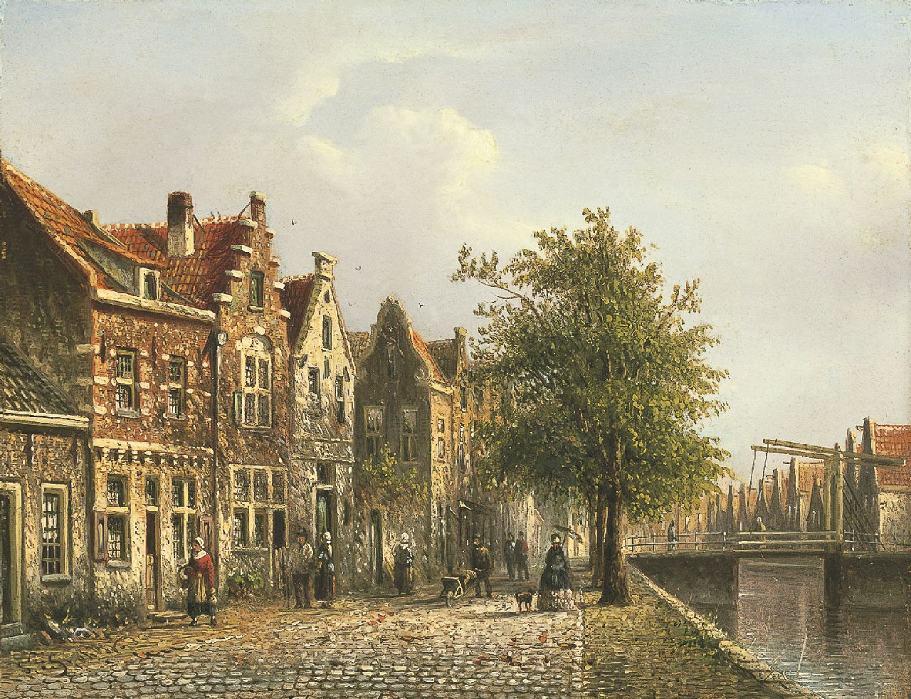 Spohler J.F.  | Johannes Franciscus Spohler, Canal with quay and drawbridge, oil on panel 15.8 x 20.6 cm, signed l.l.