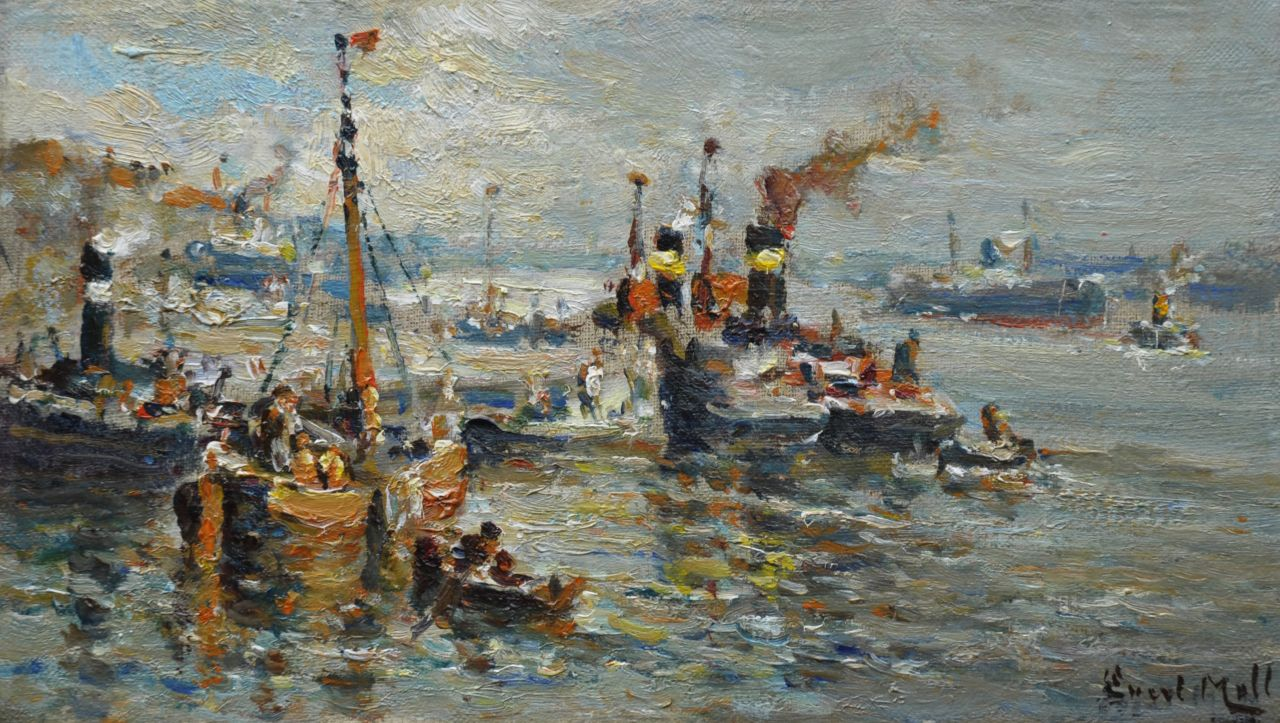 Moll E.  | Evert Moll, A harbour view with tugs, oil on canvas 20.5 x 35.2 cm, signed l.r.