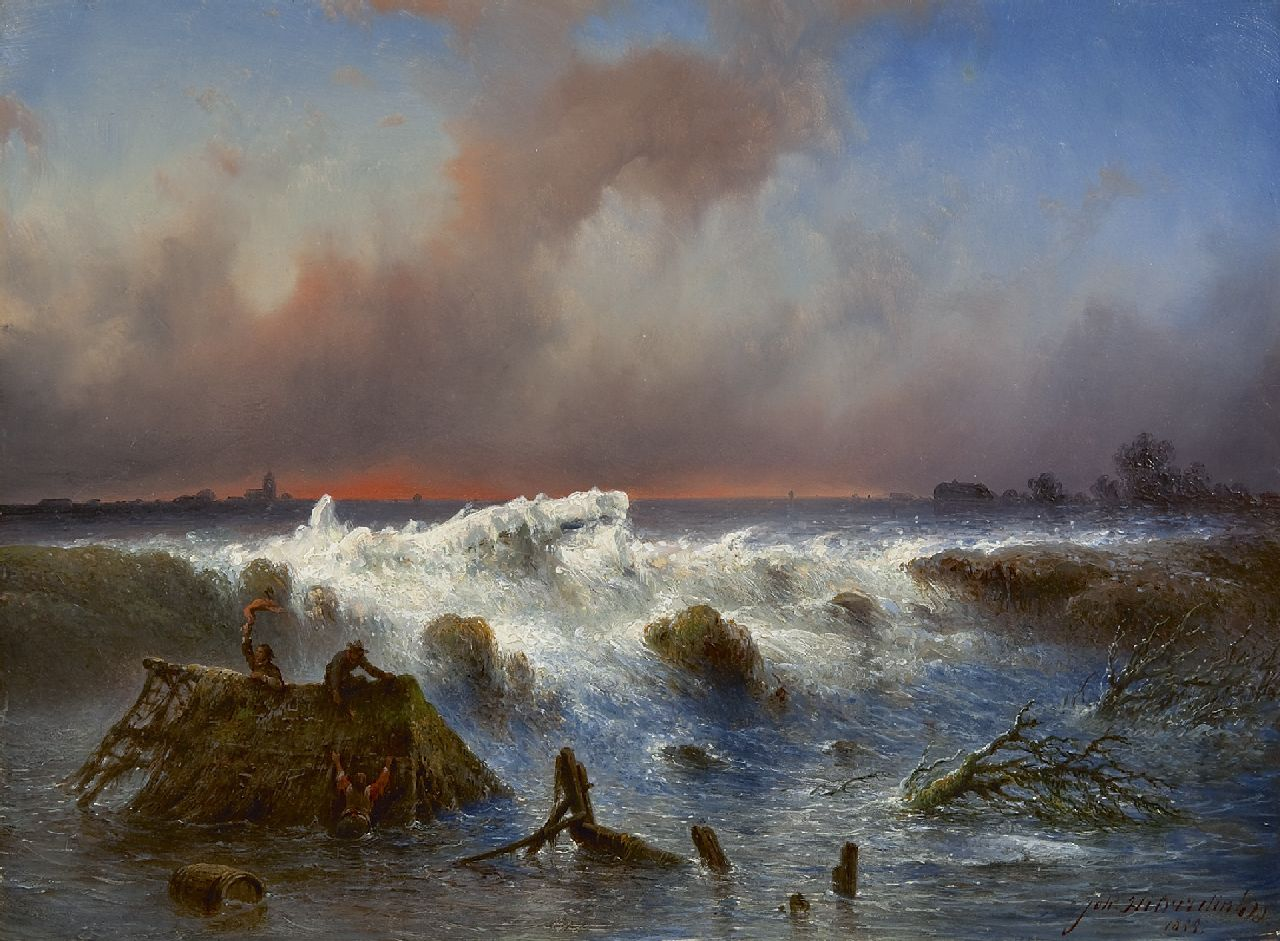 Hilverdink J.  | Johannes Hilverdink | Paintings offered for sale | The bursting of the 'Grebbedijk' on March 5th 1855, oil on panel 37.1 x 50.1 cm, signed l.r. and dated 1855