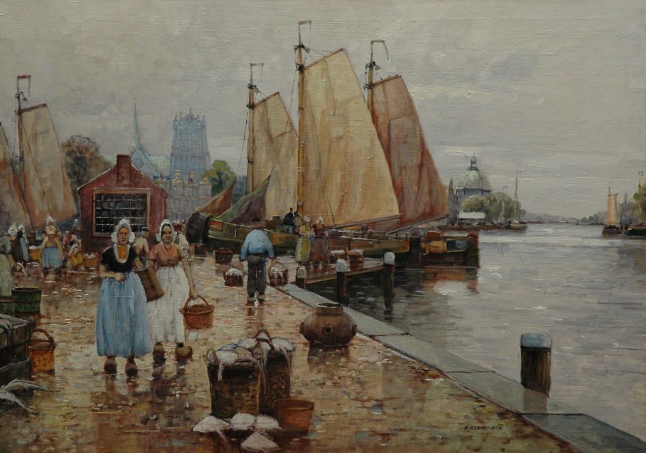 Hornemann | A quay with moored sailing ships, oil on canvas, 50.7 x 70.6 cm, signed l.r.