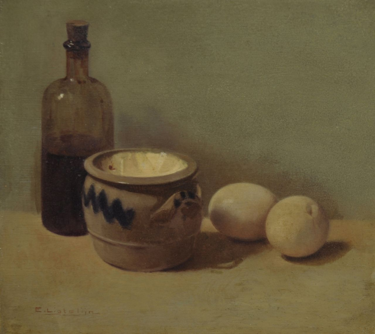 Ligtelijn E.J.  | Evert Jan Ligtelijn, A still life with eggs, oil on panel 23.2 x 25.9 cm, signed l.l.