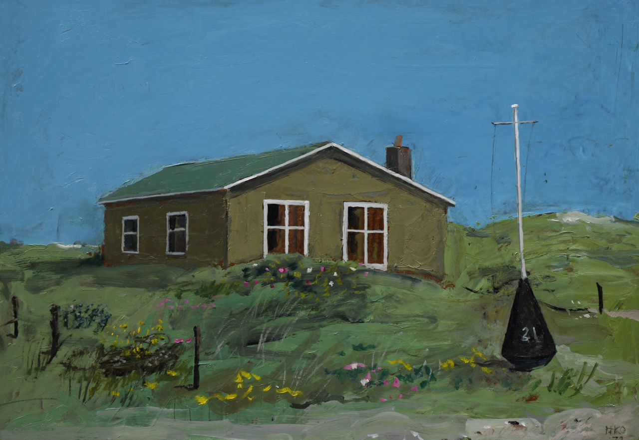 Kamerlingh Onnes H.H.  | 'Harm' Henrick Kamerlingh Onnes, House in the dunes on the island Terschelling, oil on board 35.9 x 50.9 cm, signed l.r. with monogram and dated '72