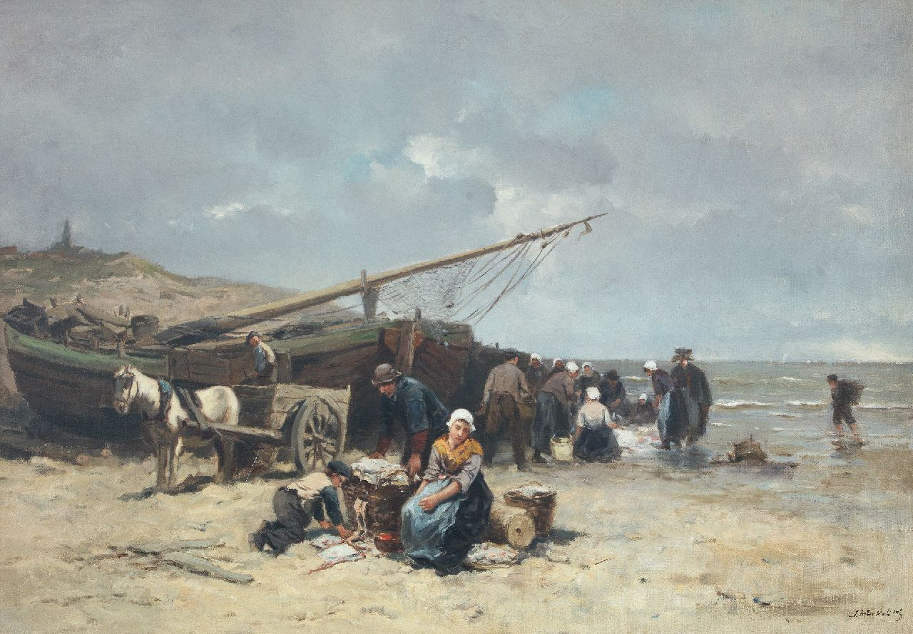 Kate J.M. ten | Johannes Marius ten Kate | Paintings offered for sale | Selling fish on the beach of Scheveningen, oil on canvas 50.5 x 73.5 cm, signed l.r.